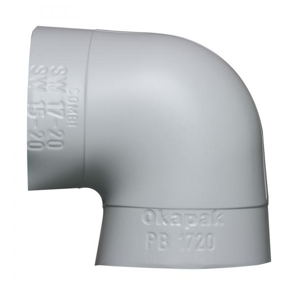 PVC Bogen Okapak 90 Grad hellgrau schwerentflammbar