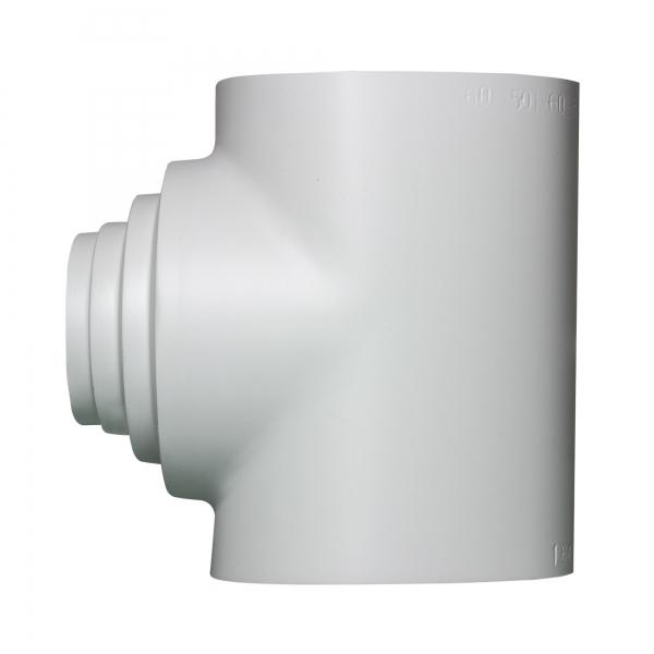 PVC Kombinationsabzweig 90 Grad hellgrau