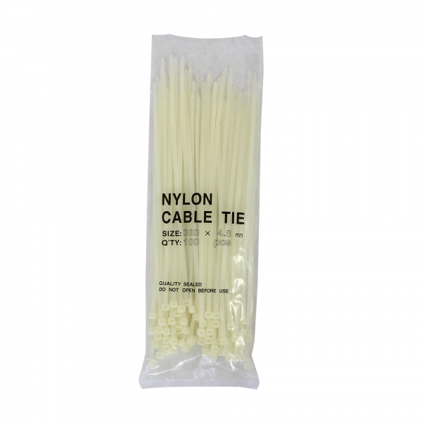 Kabelbinder aus Nylon naturfarben 4,8 mm x 300 mm Beutel mit 100 Stück