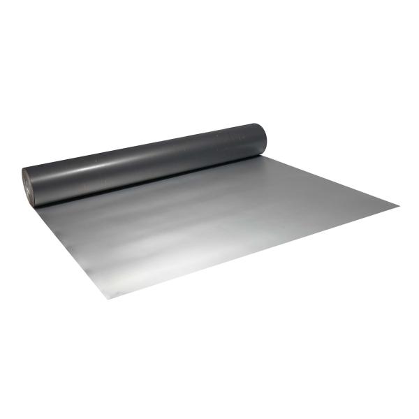 Abdeckpappe alu / grau 1,2 x 41 m schwere Qualität einseitig PE Folie beschichtet 305 g/m²