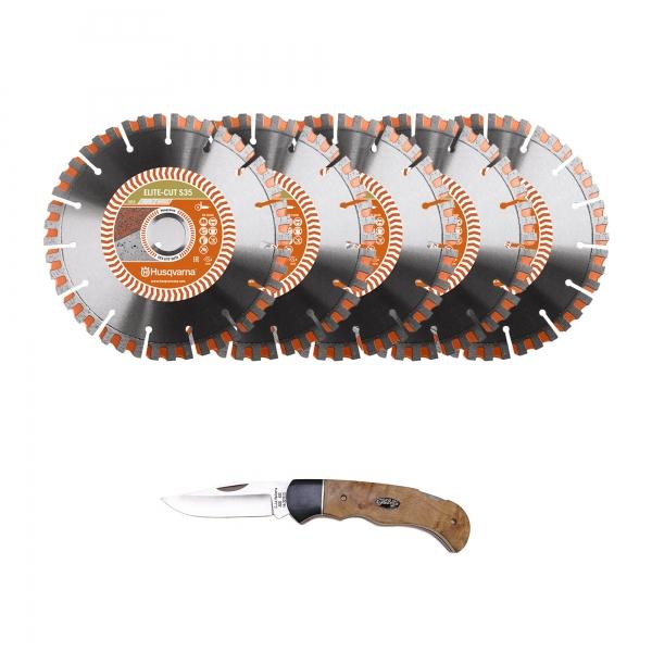 Husqvarna® 5 x ELITE-CUTE S 35 (350 mm) + Husqvarna@ Messer