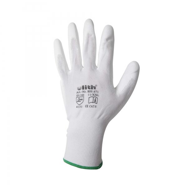 Arbeitshandschuhe Handschuhe PU / Nylon Feinstrick weiß Größe 11